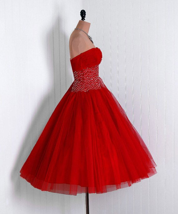 1950's Ruby-Red Sequin Tulle Strapless Circle-Skirt Party Dress 4