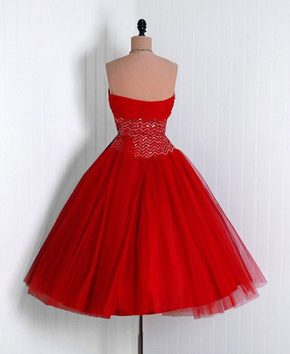 1950's Ruby-Red Sequin Tulle Strapless Circle-Skirt Party Dress 5