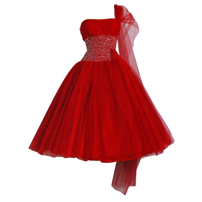 1950's Ruby-Red Sequin Tulle Strapless Circle-Skirt Party Dress 1