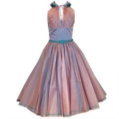 1950's Lilli Diamond Irridescent Blue Pink Silk Organza Halter Party Dress