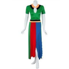 1970's Sant' Angelo Colorful Jersey Bodysuit & Handkerchief-Skirt Dress