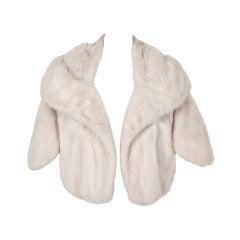 1960's Luxurious Ivory-White Mink Fur Portrait-Collar Cropped Bolero Cape Jacket