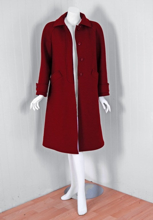 1960's Courreges Burgundy Wool Space-Age Mod Tailored Jacket Coat 2