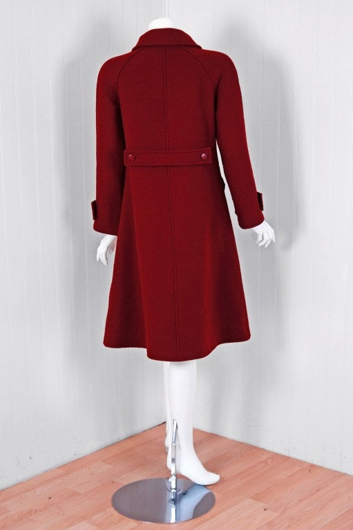 1960's Courreges Burgundy Wool Space-Age Mod Tailored Jacket Coat 4