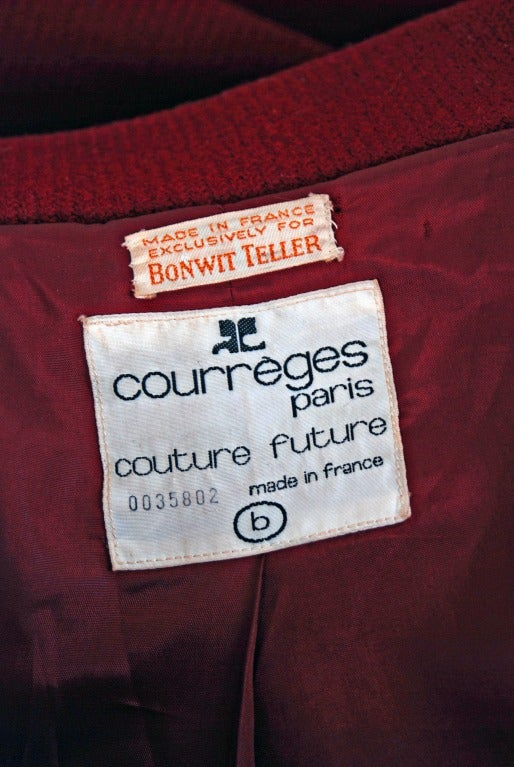 1960's Courreges Burgundy Wool Space-Age Mod Tailored Jacket Coat 5