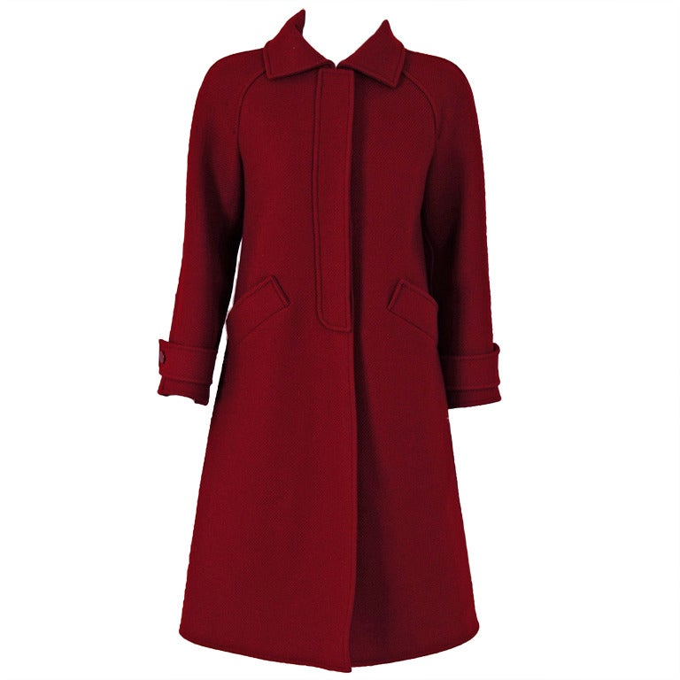 1960's Courreges Burgundy Wool Space-Age Mod Tailored Jacket Coat 1