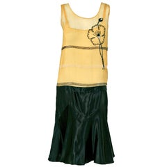 1920's Elegant Beaded Floral Motif Yellow Chiffon & Black Satin Flapper Dress