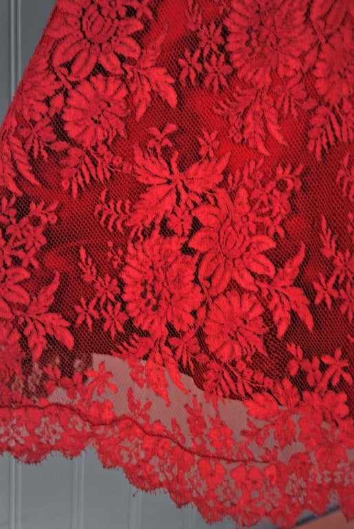 1950's Harvey Berin Red Chantilly-Lace & Satin Full Scalloped Party Dress 3