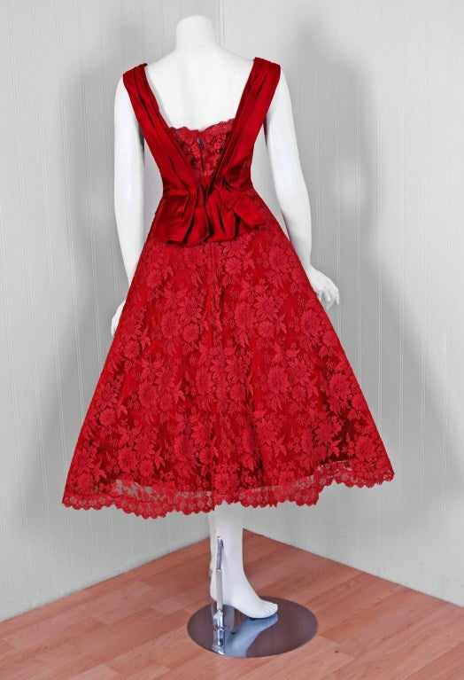 1950's Harvey Berin Red Chantilly-Lace & Satin Full Scalloped Party Dress 4
