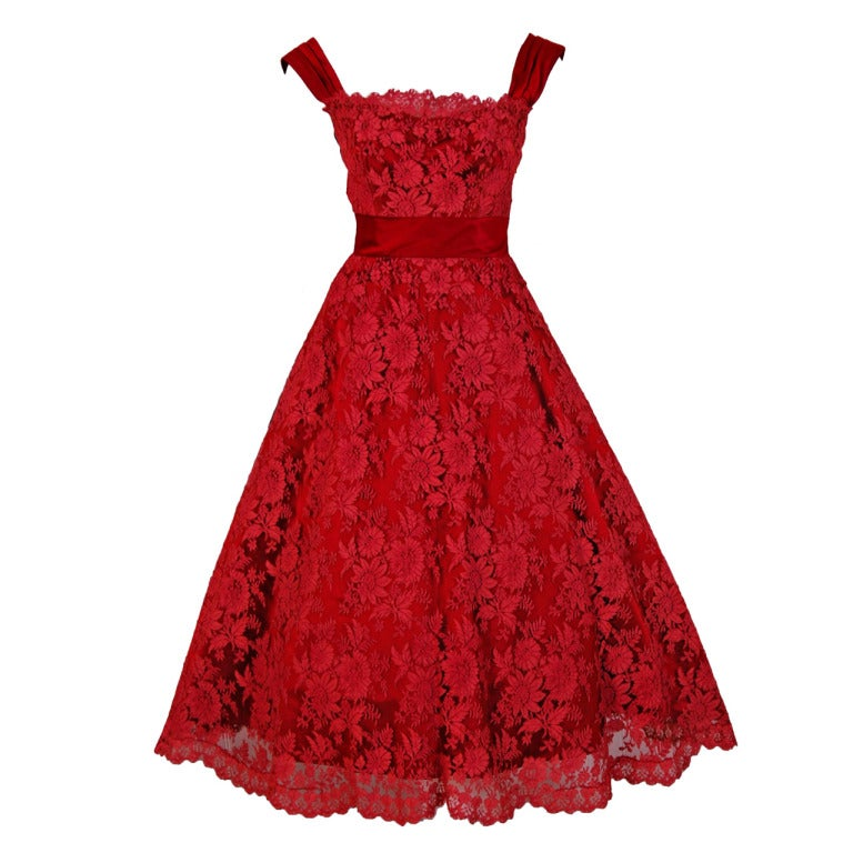 1950's Harvey Berin Red Chantilly-Lace & Satin Full Scalloped Party Dress 1