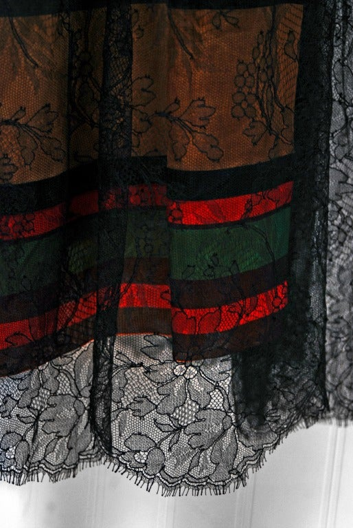 Black Vintage 1968 Geoffrey Beene Chantilly Lace Colorful Striped Silk Illusion Dress For Sale
