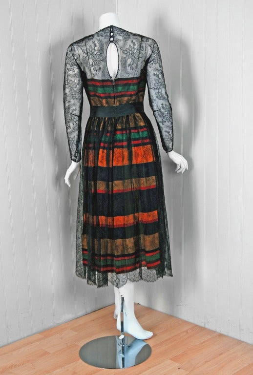 Vintage 1968 Geoffrey Beene Chantilly Lace Colorful Striped Silk Illusion Dress In Good Condition For Sale In Beverly Hills, CA