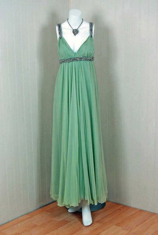 1960 S Sarmi Seafoam Green Rhinestone Silk Chiffon Empire