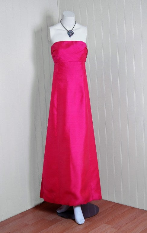 1960's Helena Barbieri Fuchsia-Pink Silk Sculpted Strapless Gown image 2