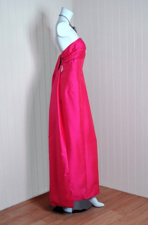 1960's Helena Barbieri Fuchsia-Pink Silk Sculpted Strapless Gown image 3
