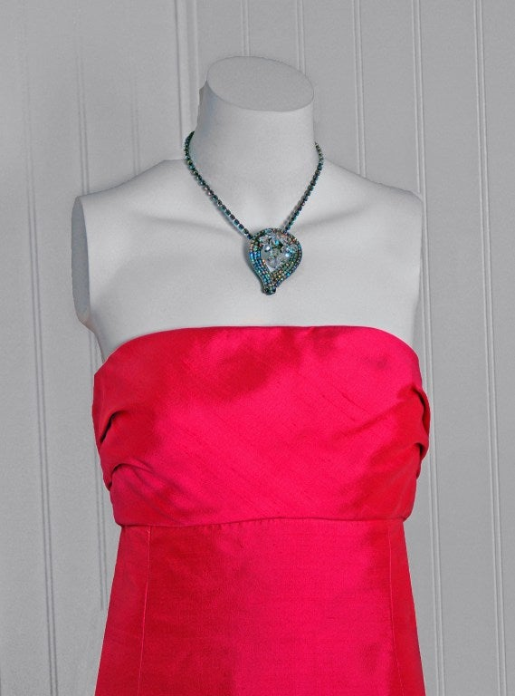 1960's Helena Barbieri Fuchsia-Pink Silk Sculpted Strapless Gown image 4