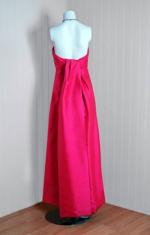 1960's Helena Barbieri Fuchsia-Pink Silk Sculpted Strapless Gown image 5