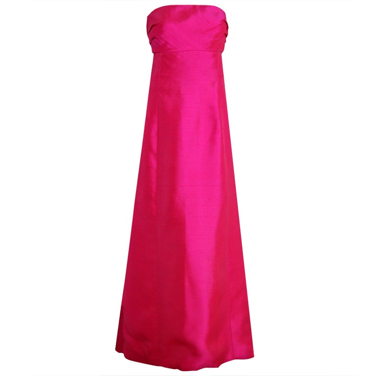 1960's Helena Barbieri Fuchsia-Pink Silk Sculpted Strapless Gown