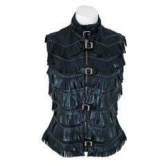 1990's Versace Couture Fringe Studded Leather Biker Jacket Vest