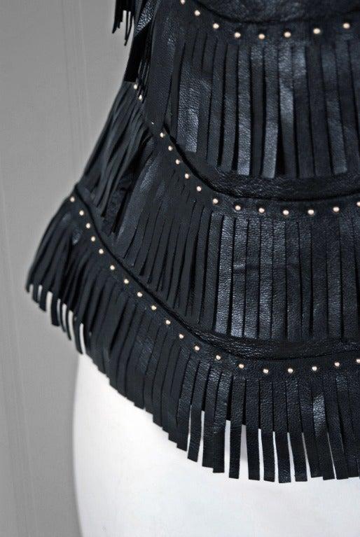 1990 S Versace Couture Fringe Studded Leather Biker Jacket