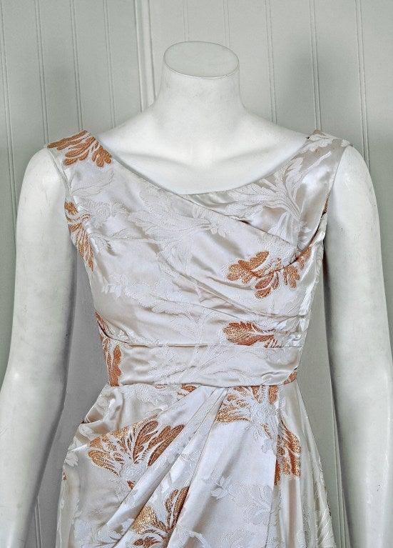 1950's Ceil Chapman Metallic-Gold & Ivory Silk Asymmetric Draped Evening Gown 2