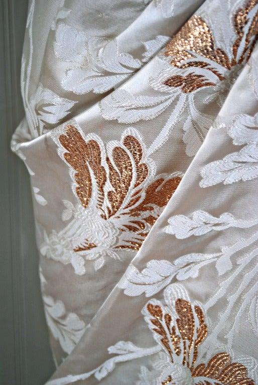 1950's Ceil Chapman Metallic-Gold & Ivory Silk Asymmetric Draped Evening Gown 3