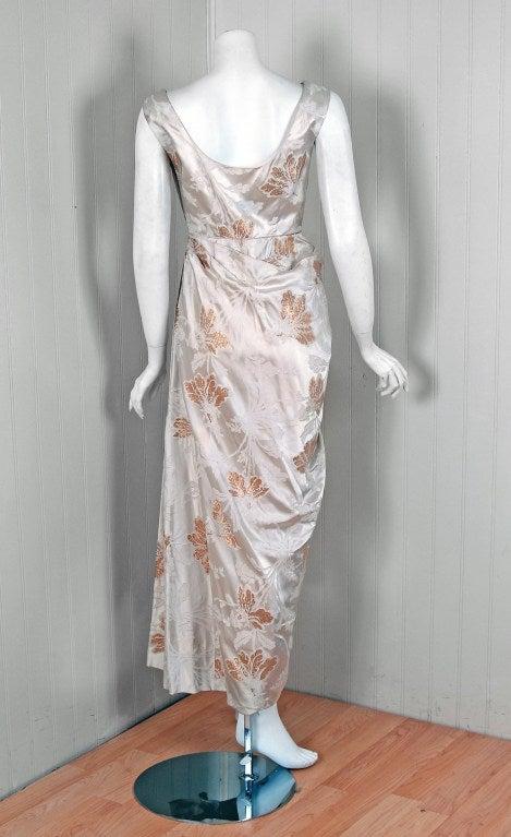 1950 S Ceil Chapman Metallic Gold And Ivory Silk