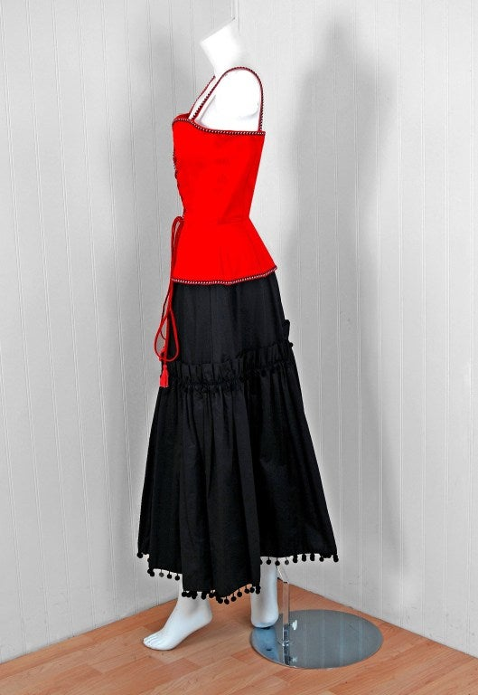 Women's 1976 Yves Saint Laurent Runway Ruby-Red & Black Corset Peasant Dress Ensemble For Sale