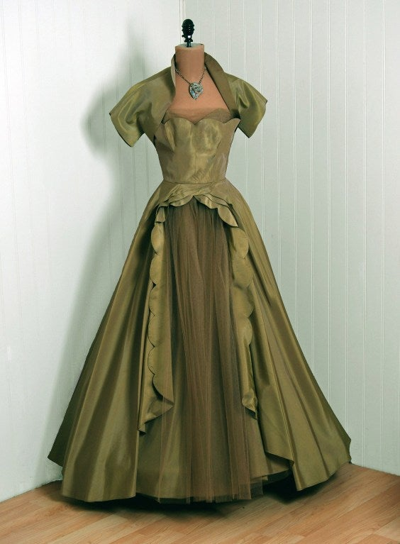 1950's Fred Perlberg Marigold Green-Yellow Taffeta Strapless Evening Gown 2