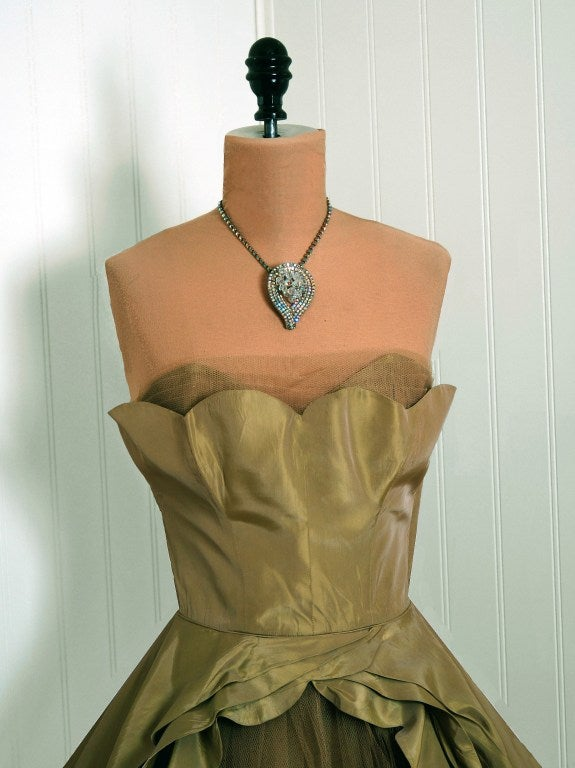1950's Fred Perlberg Marigold Green-Yellow Taffeta Strapless Evening Gown 3