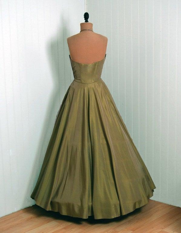 1950's Fred Perlberg Marigold Green-Yellow Taffeta Strapless Evening Gown 4