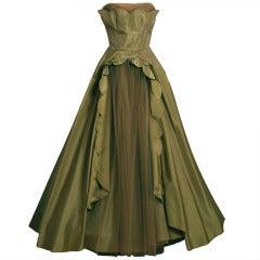1950's Fred Perlberg Marigold Green-Yellow Taffeta Strapless Evening Gown