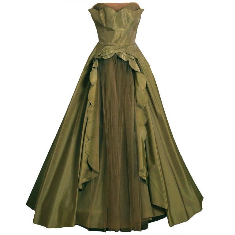 1950's Fred Perlberg Marigold Green-Yellow Taffeta Strapless Evening Gown 1