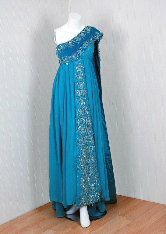 1940's Heavily-Beaded Blue Crepe-Chiffon & Velvet Goddess Gown 2
