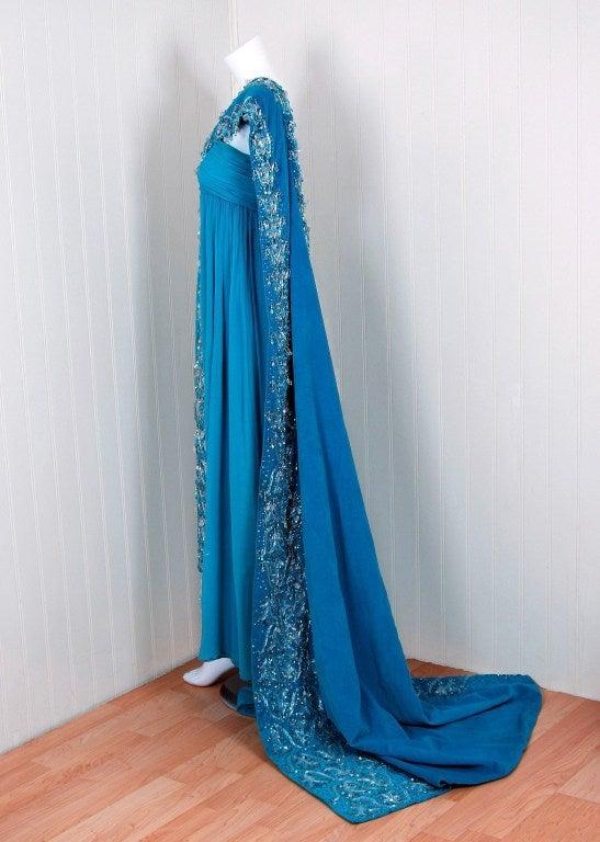 1940's Heavily-Beaded Blue Crepe-Chiffon & Velvet Goddess Gown 3