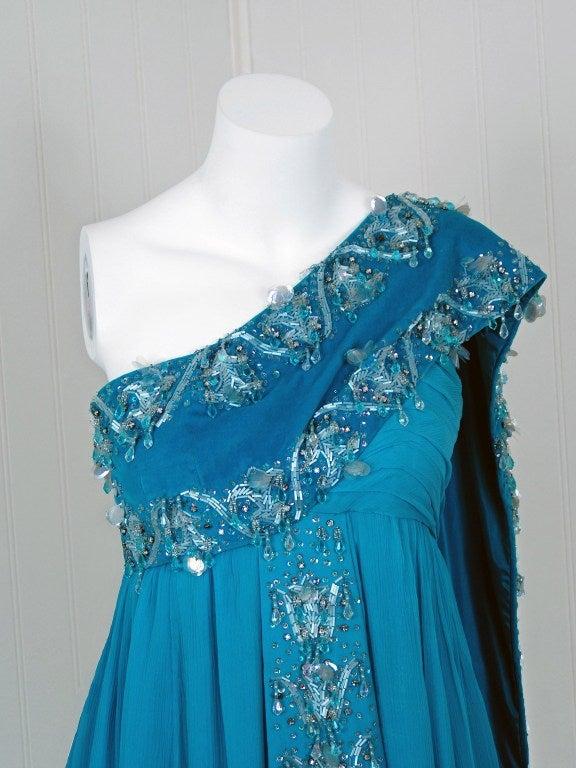 1940's Heavily-Beaded Blue Crepe-Chiffon & Velvet Goddess Gown 4
