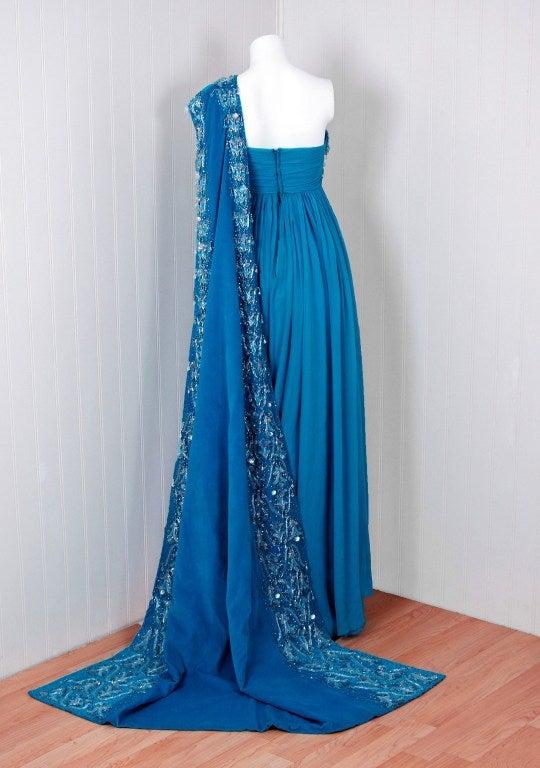 1940's Heavily-Beaded Blue Crepe-Chiffon & Velvet Goddess Gown 5