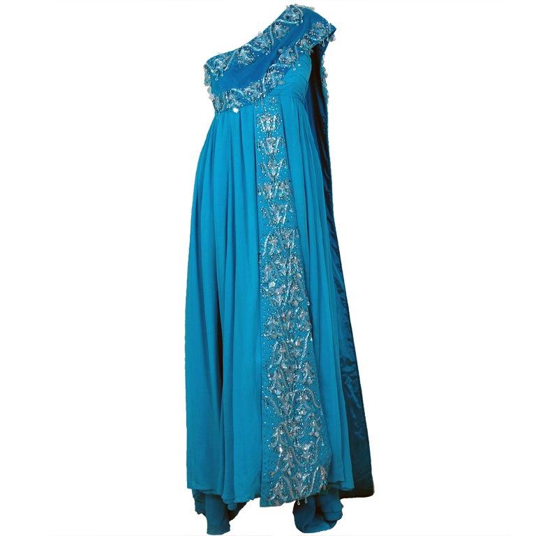 1940's Heavily-Beaded Blue Crepe-Chiffon & Velvet Goddess Gown 1