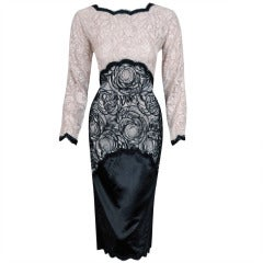 1970's Geoffrey Beene Lace-Illusion & Satin Ivory Black Cocktail Wiggle Dress