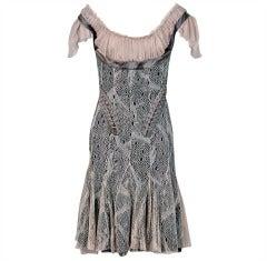 2002 Alexander McQueen Corset Shelf-Bust Lace & Chiffon Cocktail Dress