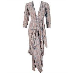 1930's Lucien Lelong Haute-Couture Novelty Surrealism Print-Silk Draped Dress