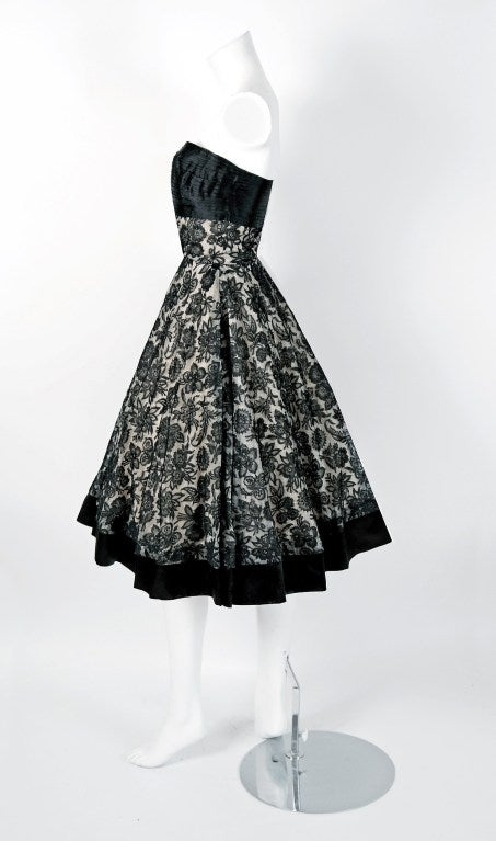 1950's Arthur Falkenstein Chantilly-Lace & Satin Strapless Full Party Dress 4