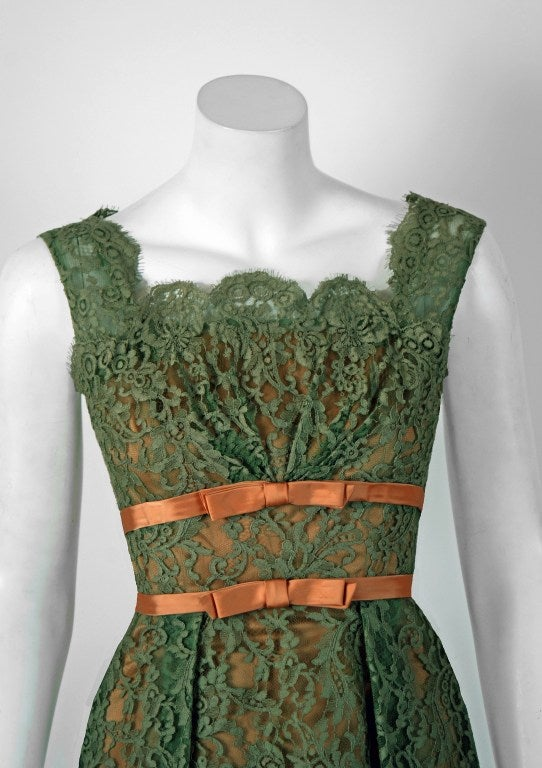 1950's Ceil Chapman Sage-Green Lace Scalloped Shelf-Bust Cocktail Dress 2