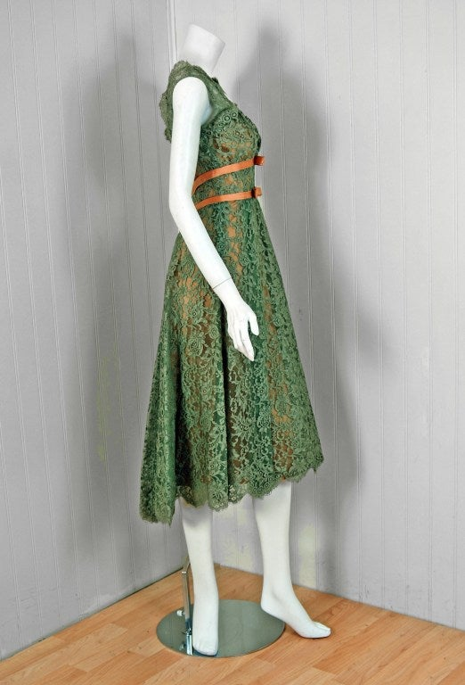 1950's Ceil Chapman Sage-Green Lace Scalloped Shelf-Bust Cocktail Dress 4