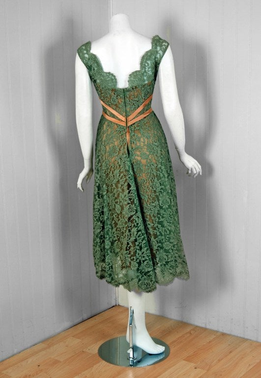 1950's Ceil Chapman Sage-Green Lace Scalloped Shelf-Bust Cocktail Dress 5