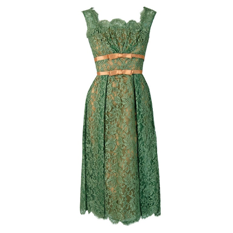 1950's Ceil Chapman Sage-Green Lace Scalloped Shelf-Bust Cocktail Dress