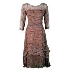 1950's Eleanora Garnett Couture Novelty Wood-Print Chiffon Pleated Dress