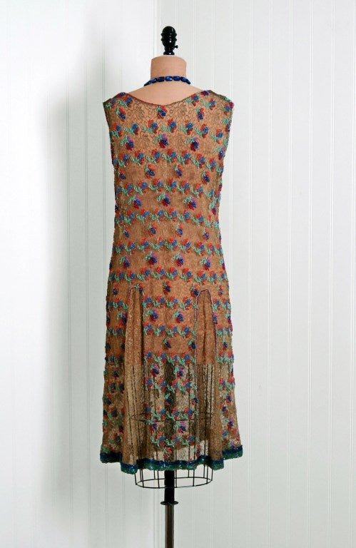 1920's Metallic-Gold Lace Dress with Colorful Floral Beadwork image 5