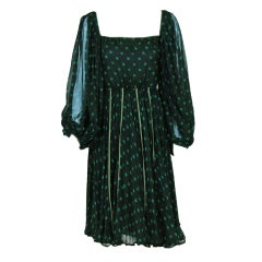 1970's Galanos Polka-Dot Green & Black Silk-Chiffon Party Dress