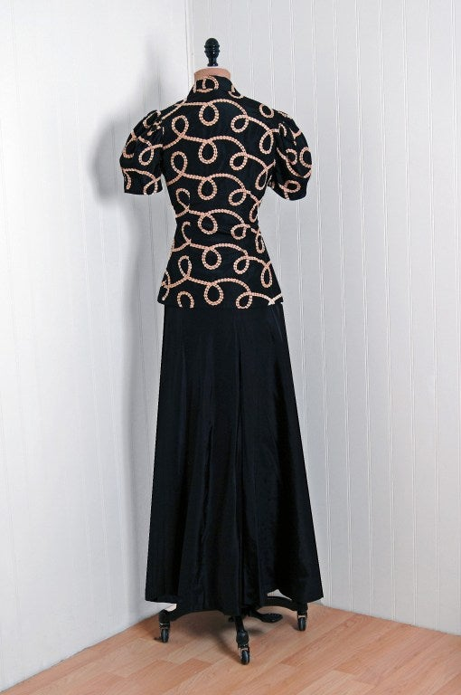 1930 S Black And Pink Embroidered Swirls Taffeta Bias Cut